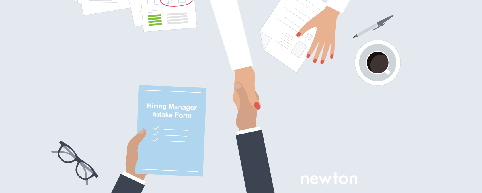 A hiring manager and recruiter develop their recruiting strategy using the hiring manager intake form.